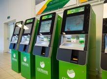 Liczba ATMs Sberbank Rosja, set w centrum handlowym Zdjęcia Stock