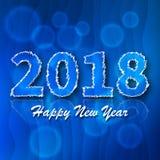 Liczba 2018 Błękit 2018 nowy rok powitanie Obraz Stock