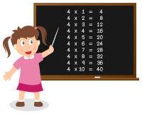 Liczba Cztery czasów stół na Blackboard Fotografia Royalty Free