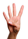 liczba cztery gesty Obraz Stock