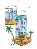 Liczba Cztery Jako akwarium Z ryba I morze istotami Zdjęcia Stock