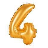 Liczba 4 cztery od balonów pomarańczowych Zdjęcie Royalty Free