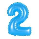 Liczba 2 dwa od balonów błękitnych Obrazy Royalty Free