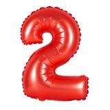 Liczba 2 dwa od balonów czerwonych Zdjęcia Stock