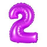 Liczba 2 dwa od balonów purpurowych Obrazy Royalty Free