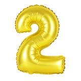 Liczba 2 dwa od balonów złotych Obrazy Royalty Free