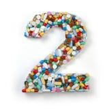 Liczba 2 dwa Set abecadło medycyn pigułki, kapsuły Fotografia Stock