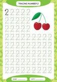Liczba 2 Dwa Tropi Worksheet Czereśniowa jagoda Preschool worksheet, ćwiczy motorowe umiejętności - kalkowanie ciskający wykłada  ilustracji