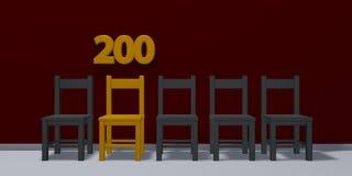 Liczba dwieście i rząd krzesła royalty ilustracja