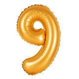 Liczba 9 dziewięć od balonów pomarańczowych Obrazy Stock