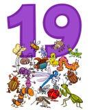 Liczba dziewiętnaście i kreskówka insektów grupa ilustracja wektor