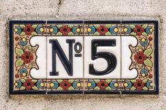 Liczba 5 emaliować płytki Zdjęcie Stock