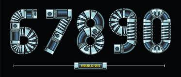 Liczba Hydrauliczny styl w setu 12345 chrzcielnic komiczki wektorze ilustracja wektor