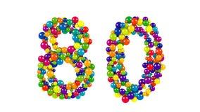Liczba 80 jako małe piłki nad bielem Zdjęcie Stock