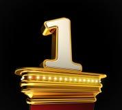 Liczba Jeden na złotej platformie Zdjęcia Royalty Free