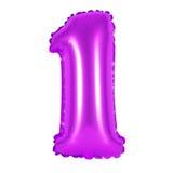 Liczba 1 jeden od balonów purpurowych Fotografia Stock