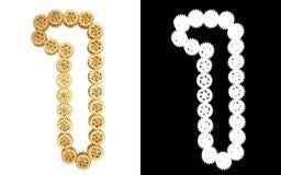 Liczba jeden od złocistego przekładnia mechanizmu Alfa kanał ilustracji