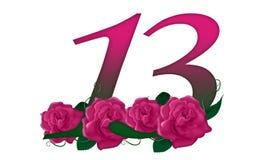 Liczba 13 kwiecista Zdjęcia Royalty Free
