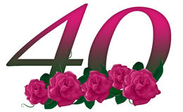 Liczba 40 kwiecista royalty ilustracja
