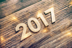 Liczba 2017 na drewnianej desce Zdjęcia Stock