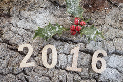 Liczba 2016 na drewno barkentynie z holly Zdjęcie Royalty Free