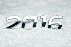 Liczba 2016 na śniegu Zdjęcie Royalty Free