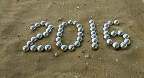 Liczba 2016 na piasku Zdjęcia Stock