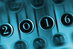 Liczba 2016 na rocznika maszyna do pisania Obraz Stock