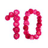Liczba 10 od kwiatów czerwieni i menchii róża na białym tle Zdjęcia Stock