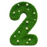 Liczba 2 od trawy z kwiatami, 3D rendering ilustracja wektor