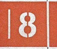 Liczba osiem na bieg śladu liniach Zdjęcia Stock