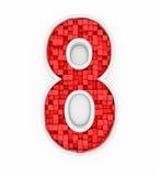 Liczba osiem od czerwonych sześcianów Obrazy Stock