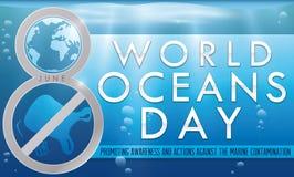 Liczba Osiem Upamiętnia walkę przeciw kontaminowaniu dla oceanu dnia, Wektorowa ilustracja Fotografia Stock