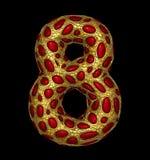 Liczba 8 osiem zrobił złoty olśniewający kruszcowy 3D z czerwonym szkłem odizolowywającym na czarnym tle Zdjęcia Royalty Free