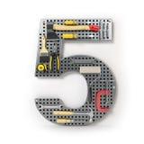 Liczba 5 pięć Abecadło od narzędzi na metalu pegboard iso Fotografia Stock