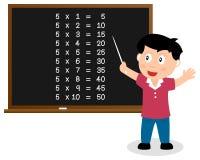 Liczba Pięć czasów stół na Blackboard Obraz Stock