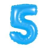 Liczba 5 pięć od balonów błękitnych Zdjęcie Stock