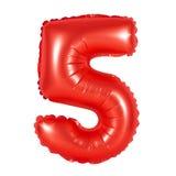 Liczba 5 pięć od balonów czerwonych Obrazy Stock