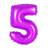 Liczba 5 pięć od balonów purpurowych Zdjęcie Royalty Free