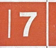 Liczba siedem na bieg śladu liniach Zdjęcia Stock