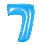 Liczba 7 siedem od balonów błękitnych Obraz Stock