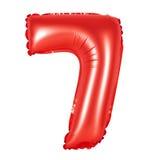 Liczba 7 siedem od balonów czerwonych Fotografia Stock