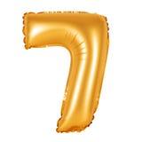 Liczba 7 siedem od balonów pomarańczowych Zdjęcie Stock