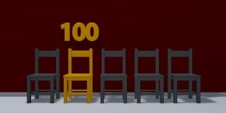 Liczba sto i rząd krzesła royalty ilustracja