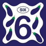 Liczba 6 sześć, edukacyjna karta, uczy się liczyć ilustracja wektor