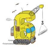 Liczba Sześć Jako żuraw i buldożer na budowie Obrazy Stock