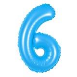 Liczba 6 sześć od balonów błękitnych Fotografia Royalty Free