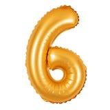 Liczba 6 sześć od balonów pomarańczowych Zdjęcie Royalty Free