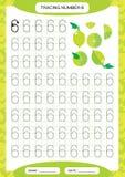 Liczba 6 Sześć Tropi Worksheet dla dzieciaków Zielony soczysty wapno Preschool worksheet, ćwiczy motorowe umiejętności - kalkowan royalty ilustracja