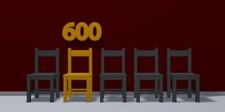 Liczba sześćset i rząd krzesła ilustracji
